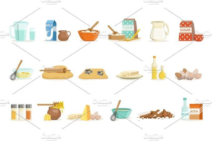 Baking Ingredients And Kitchen Tools And Utensils Set Of Realistic