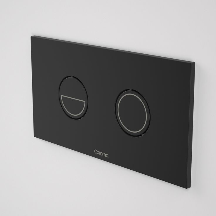 Caroma Invisi Series II Round Dual Flush Metal Plate and Buttons - Black http://www.caroma.com.au/bathrooms/toilet-suites/invisi-series-ii-buttons-and-panels/invisi-series-ii-round-dual-flush-plate-buttons-metallics-metal-black