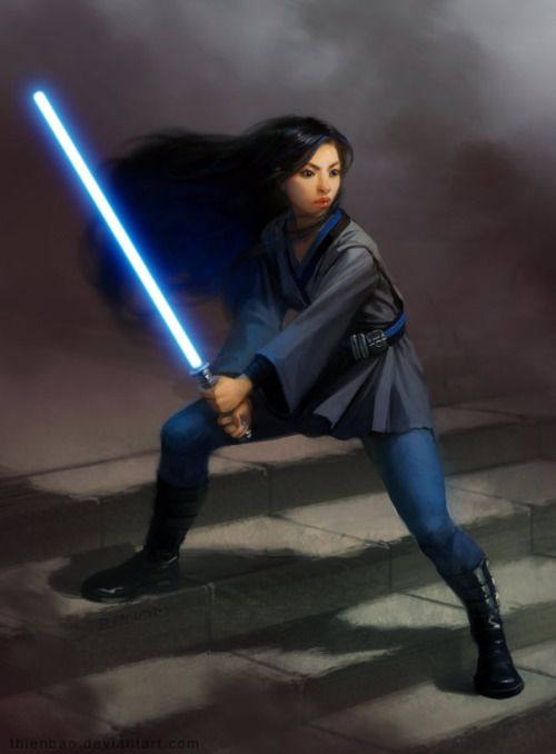 [ Image: A colour painting of a young jedi woman seemingly of asian appearance, bracing herself on a broad flight of stairs with her blue lightsaber ignited. She wears a thigh-length dark grey tunic trimmed with black over what appears to be a blue unitard, bound at the waist by a blue and black striped belt carrying a couple of utility items. Black thigh-high boots that have multiple buckles up their sides match the waist-length black hair streaming behind her on the same breeze that moves…
