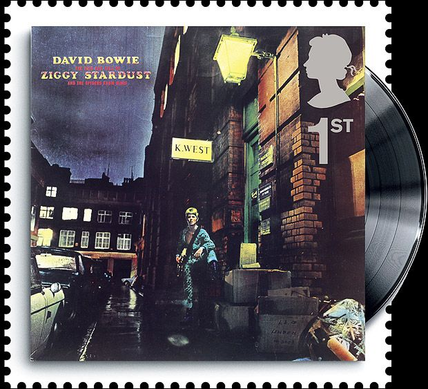 Royal Mail's Classic Album Covers Special Stamps, featuring classic album covers from the last four decades: David Bowie, Ziggy Stardust and the Spiders from Mars