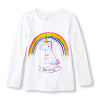 Long Sleeve 'Believe' Cartoon Unicorn & Rainbow Graphic Tee