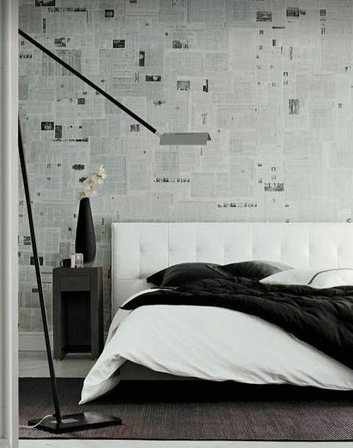 ligne roset krantenbehang - Behangen met kranten