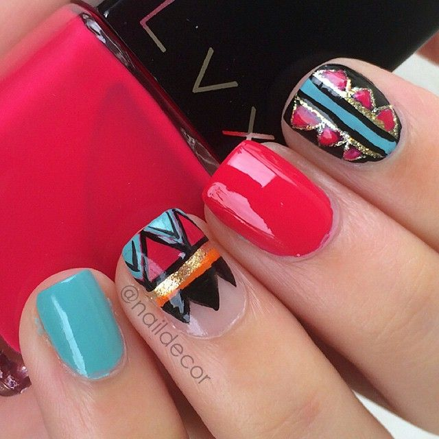 Aztec nail art featuring @shoplvx in cerise, @pinkprincesscosmetics in respect, and CG- For audrey & - naildecor