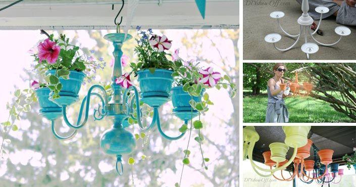 Kreatívny DIY nápad s návodom urob si sám na luster, ktorý je vlastne závesným kvetináčom alebo ako premeniť starý luster na originálny závesný kvetináč