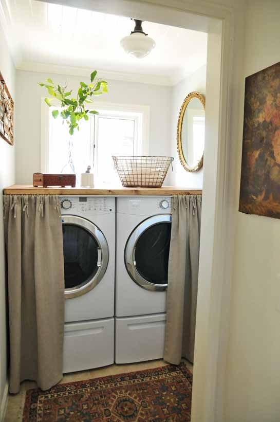 awesome Kitchen Laundry Combo Designs #7: Like the curtain idea to disguise the washer and dryer - if theyu0027re located