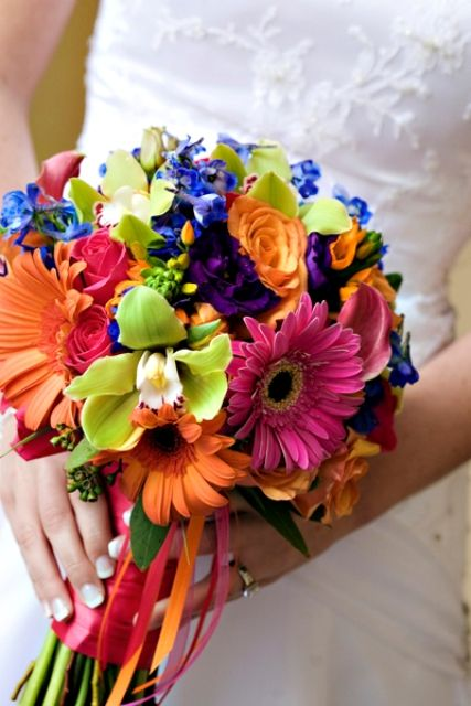 bouquet with festive bright flowers
