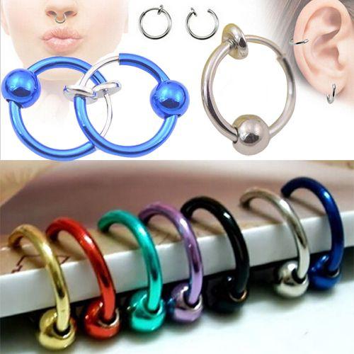 2 pezzi colorful falso naso anello labbro orecchio naso clip su  Finto piercing naso labbro cerchio anelli orecchini rosa d'oro della sfera del corpo  Gioielli