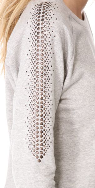 Haute Hippie Embellished Sweatshirt in Gray (grey) - Lyst