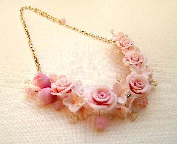 Pink roses Romantic necklace Pink jewelry by insoujewelry