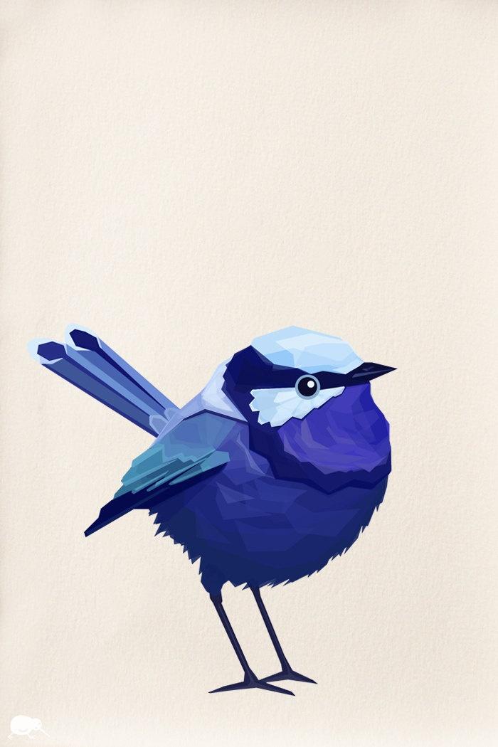 Blue Wren, Bird Geometric art, Minimal, Bird Print, Original illustration, Art, A4, A3, A6, A5. $14.00, via Etsy.