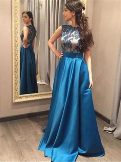 Blue Prom Dress,Lace Prom Dresses,Long Prom Dresses,Classy Prom Dress,A-line Prom Dress,Close Back Prom Dress,Simple Prom Dress,Cheap Prom Gowns,Women