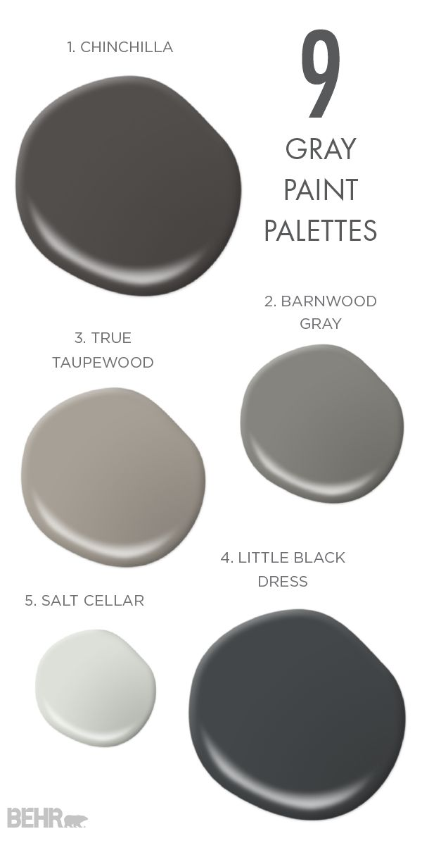 You simply can't beat these 9 gray paint palettes from BEHR Paint. Whether you need inspiration for how to design your traditional craftsman home or just looking for the perfect neutral hue, make sure to check out Little Black Dress, Salt Cellar, Taupewood, Barnwood Gray, and Chinchilla.