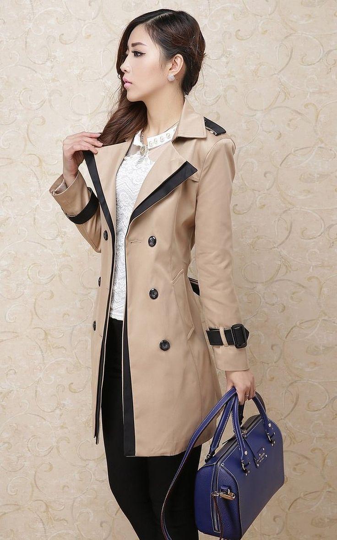 Amazon.co.jp: クラシック バイカラー トレンチコート レディース スプリングコート ベージュ ブラウン (M): 服&ファッション小物通販