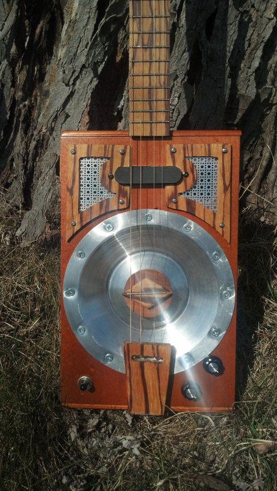 four string cigar box resonator guitar with portable amp. Black Bedroom Furniture Sets. Home Design Ideas