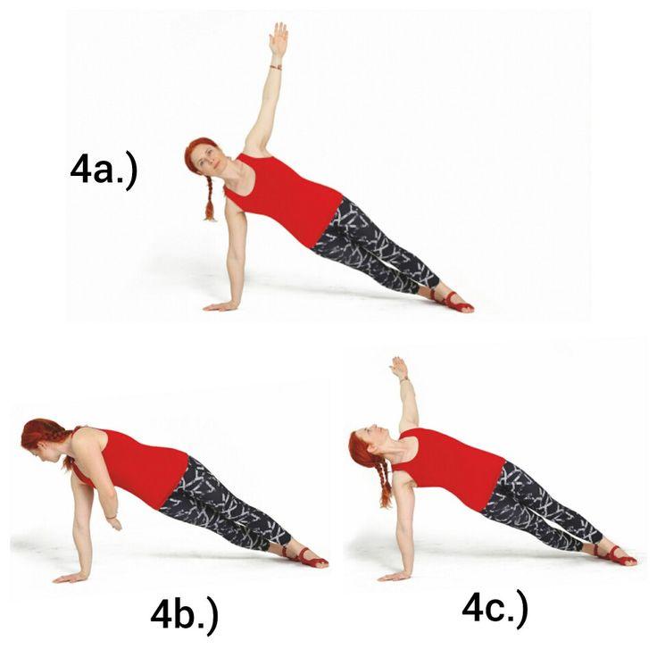 SIDE BEND TWIST  Výchozí pozicí je poloha bočního prkna. Tělo je zpevněné a v protažení. Dlaň spodní ruky je pod ramenem, horní ruka je vytažená vzhůru. Rotujte trupem směrem k zemi, aniž byste pohnuli pánví. Protáhněte ruku pod tělem a sledujte ji pohledem. Poté rotujte trupem zpět do výchozí pozice a otočte hrudník společně s horní paží směrem ke stropu. # Pozor na držení spodní častí těla. Dolní končetiny a pánev vytvářejí peo pohybující se horní polovinu těla oporu!