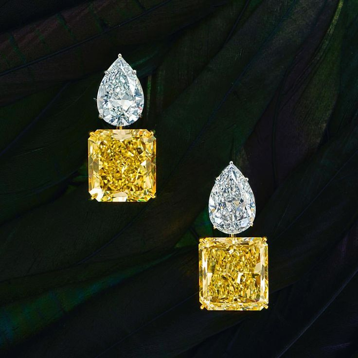 Chatila Jewellers. At our stand A41 at Masterpiece London, this delicious pair of earrings, each yellow diamond in excess of 20 carats and paired with a white diamond of over 5 carats.#masterpieceexhibition
