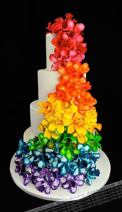 Floral rainbow wedding cake.