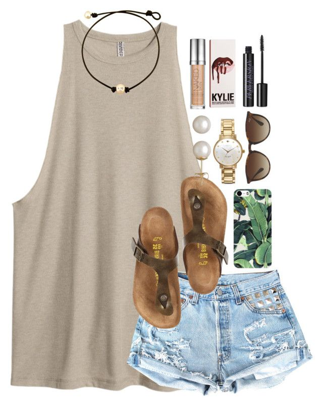 """so done w dress code"" by thefashionbyem ❤ liked on Polyvore featuring Birkenstock, Ray-Ban, Kate Spade, Honora and Urban Decay"