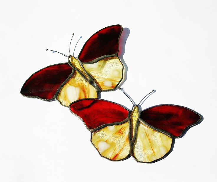 Stained Glass Butterfly Suncatcher Two Red Gold Butterflies. $30.00