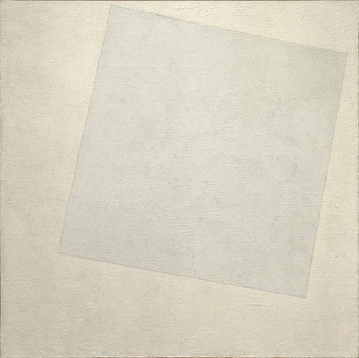 "Malevich described his aesthetic theory, known as Suprematism, as ""the supremacy of pure feeling or perception in the pictorial arts."" He viewed the Russian Revolution as having paved the way for a new society in which materialism would eventually lead to spiritual freedom. This austere painting counts among the most radical paintings of its day, yet it is not impersonal; the trace of the artist's hand is visible in the texture of the paint and the subtle variations of white. The imprecise…"