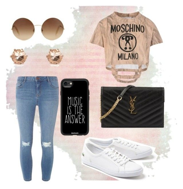 """""""Losing my mind slowly💫🙃"""" by imcute1550 on Polyvore featuring Moschino, Lacoste, Dorothy Perkins, Victoria Beckham, River Island, Casetify and Yves Saint Laurent"""