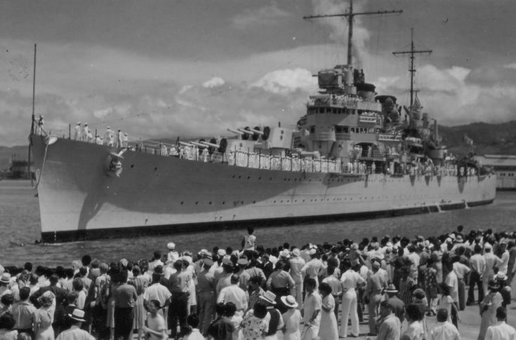 USS Honolulu CL-48 seen at Pearl Harbor, Hawaii probably in July 1939.