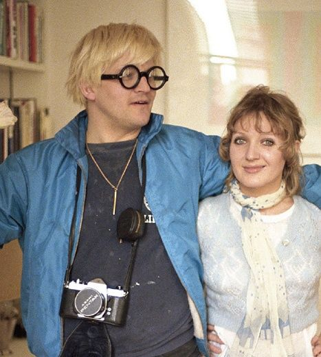 David Hockney in his Notting Hill flat with his friend and muse, the textile designer Celia Birtwell, 1969