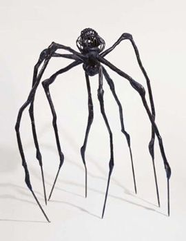 "French-American artist and sculptor, Louise Bourgeois' ""Maman,"" 1999 / Its abdomen and thorax are made up of ribbed bronze. In the late 1990s, Bourgeois began using the spider as a central image in her art. The sculpture alludes to the strength of her mother, with metaphors of spinning, weaving, nurture, and protection."