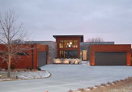 Architectural Designs Modern Ranch House Plan 62528DJ.  1:12 main pitch. 6:12 over great room. Cool!  Oh, and an elevator going to the basement!