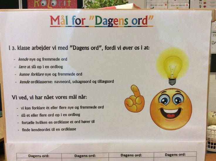 """Så kom der også en lille evalueringsdel på vores arbejde med """"Dagens ord"""". Engang imellem får klassen udleveret et ark med 5 gennemgåede """"dagens ord"""" fra det grønne """"Kan"""" krus ... Herefter skal klassen prøve at forklare de udvalgte ord så godt som de kan... De får også udleveret små ordbogsøvelser, hvor de skal slå et ord op og skrive hvilken side det står på...."""