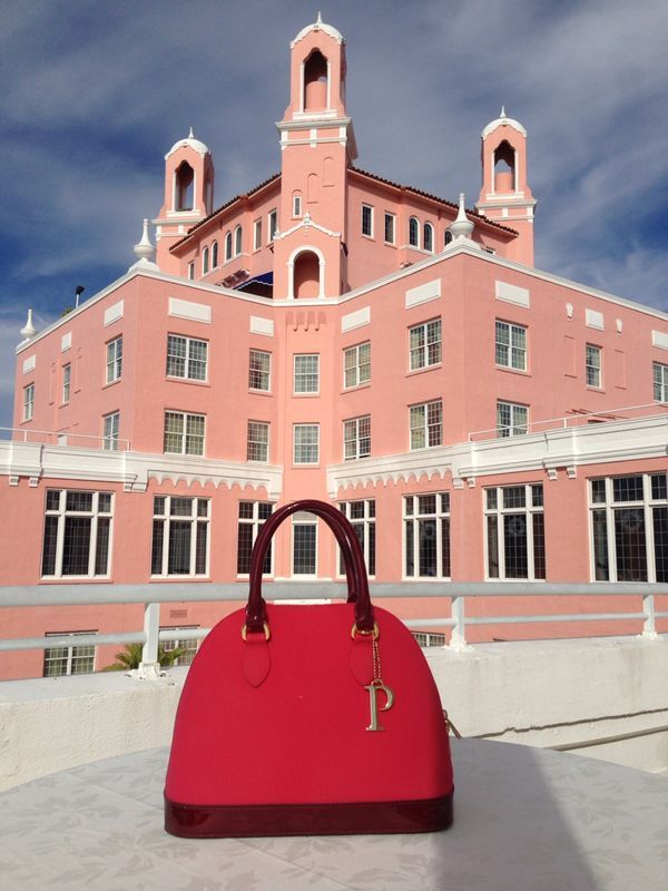 Our PISIDIA USA bag in Rose at the Loews Don Cesar Hotel