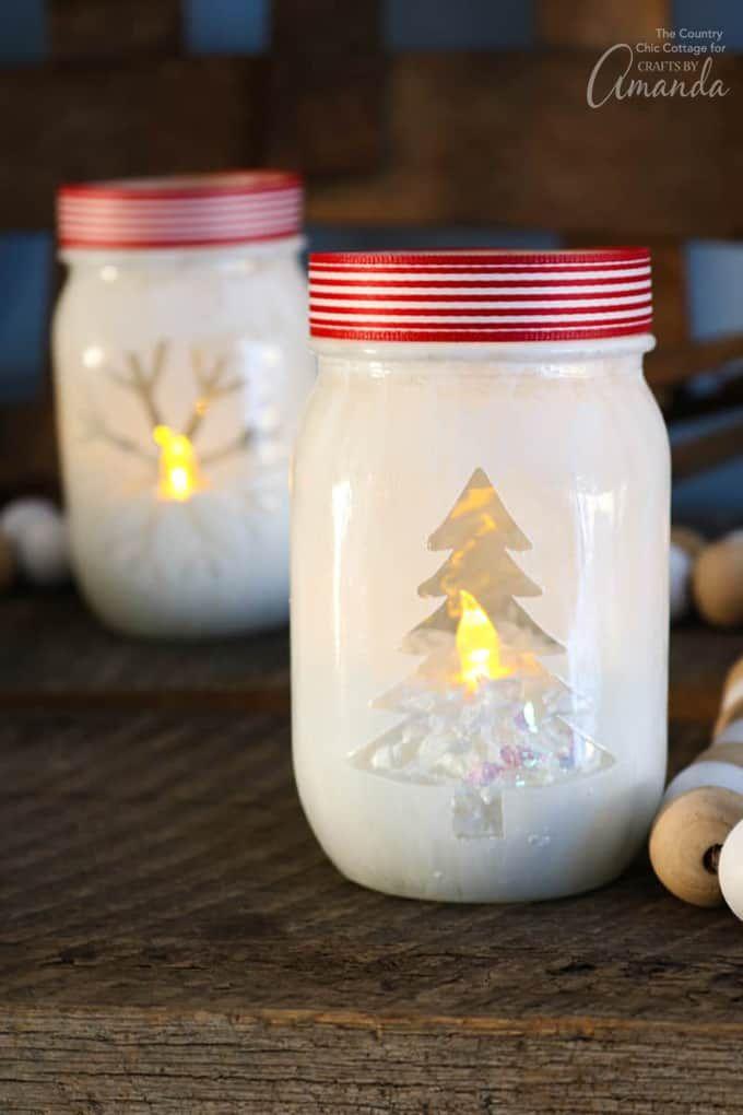 Christmas tree and snowflake design mason jar votive holders   Christmas votives, Decorating ...