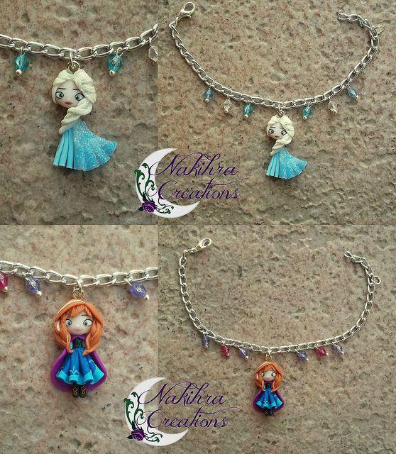 Anna and Elsa Bracelets by Nakihra Fimo Creations, via Flickr