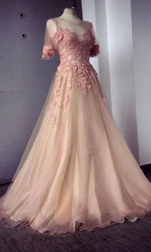 2015 Appliques and Tulle Prom Dresses, Floor-Length Prom Dresses, Sexy Prom Dresses, Half Sleeve Prom Dresses, Charming Evening Dresses