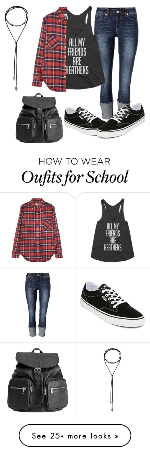 """Back to School"" by poodgegeek on Polyvore featuring Vans, R13, school, black, plaid and cuffedjeans"