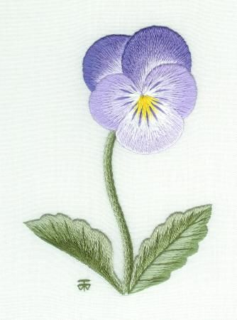 Purple and pink Pansy Needle Painting Embroidery - a Hand Embroidery Design as an Alternative to Cross-stitch.