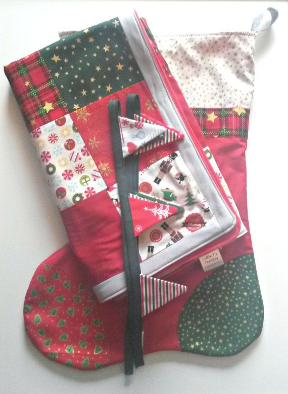 Christmas Gift Set Including Patchwork Blanket by LittleTsTextiles