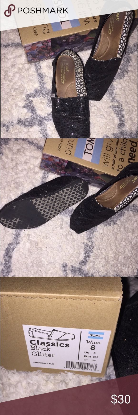 Black Glitter Toms Black glitter toms that have been gently used. No flaws just have been worn! Make me an offer trying to get rid of stuff and clean out! Hope to give these a lovely new home! TOMS Shoes Flats & Loafers