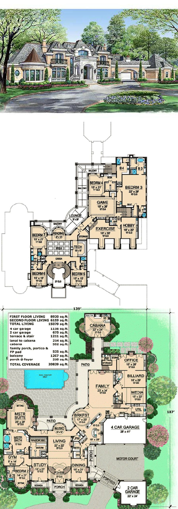 WOAHHHH Estate Home Plan with Cabana Room
