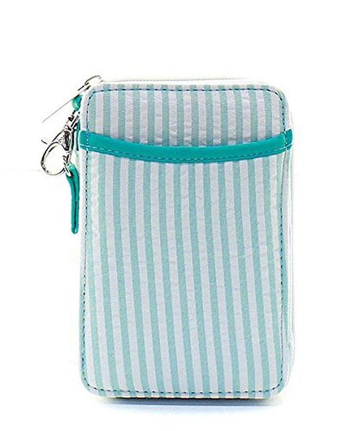 Seersucker Stripe Small Quilted Mini Wallet Wristlet Aqua Blue