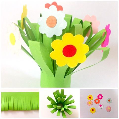 Gorgeous Paper Flower Bouquet for kids to make. This is a simple, pretty and inexpensive craft and is perfect as both a spring craft and Mother's Day Idea!