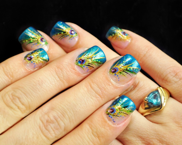 Peacock nails by Anna Page!