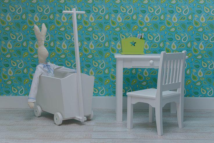 Drewniany wózek, stolik z szufladką, krzesełko Roj