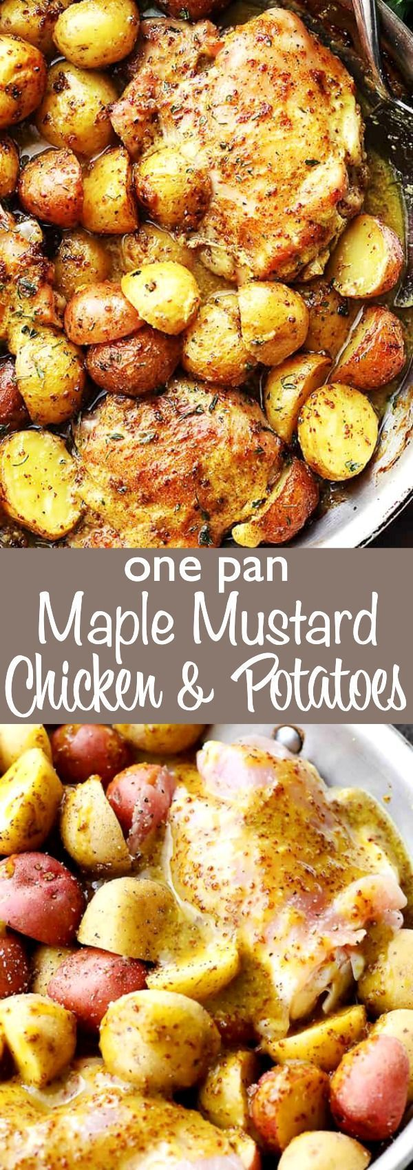 Apr 4, 2020 – Maple Mustard Chicken and Potatoes – Maple syrup mustard chicken and potatoes, all made in just one pan! S…
