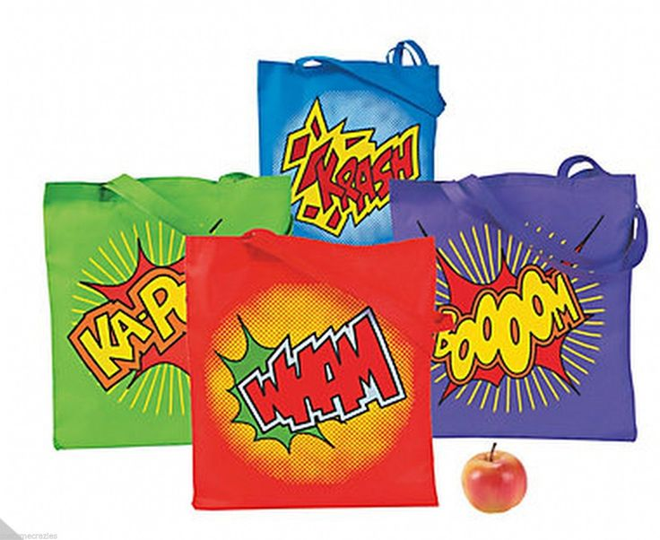 SUPERHERO PARTY ~ Superhero Large Tote Bag x 1 | eBay