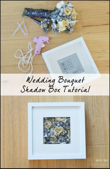 Make a modern wedding bouquet shadow box using an Ikea Ribba frame!
