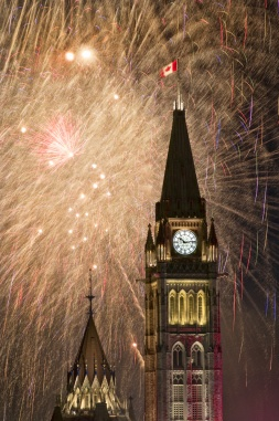 The Canadian Parliament in all its splendor during the Canada Day celebration fireworks show in Ottawa, Canada.