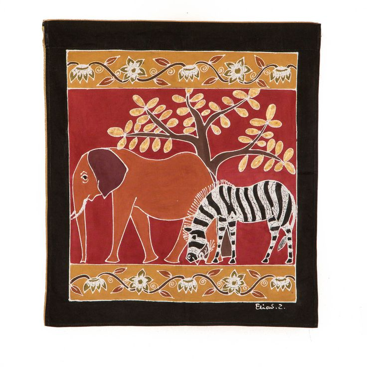 Wall Hangings ~ Various Safari Animal Designs Small Square $35.00 USD Multi-purpose wall hanging depicting Zambia's rich wildlife heritage, against background of deep red. Hemmed all around with full-width pocket along top edge for hanging pole. Can also be used as a Tablecloth or throw.