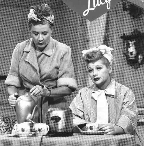 Lucy and Ethel Having Coffee