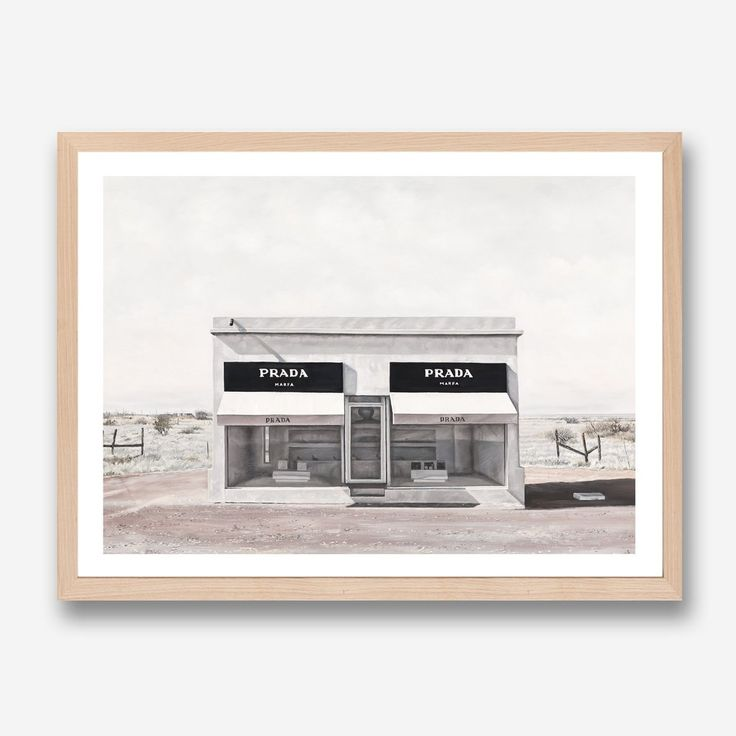 Featuring the iconic art & sculpture desert town of Marfa and the installation faux retail store by a well known Italian luxury design house & set against a baron desert road, this art print was originally hand painted by our in-house artist team, and now available as a reproduction giclée art print (archival using pigment inks), unframed or framed. Size & frame colour options available. We ship worldwide. #ThePrintEmporium #marfa #blackandwhite #art #print #desert #wallart #luxury #prada…